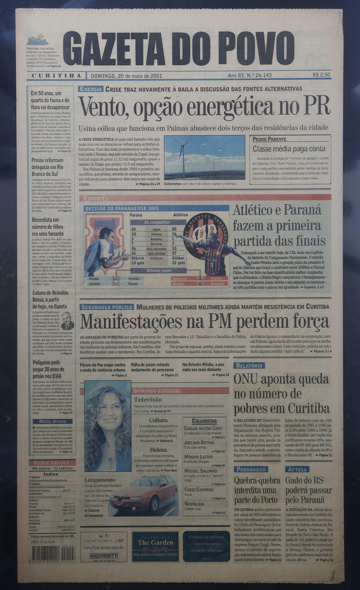 Primeira página da Gazeta do Povo do dia 20 de maio de 2001, edição de estreia da coluna.