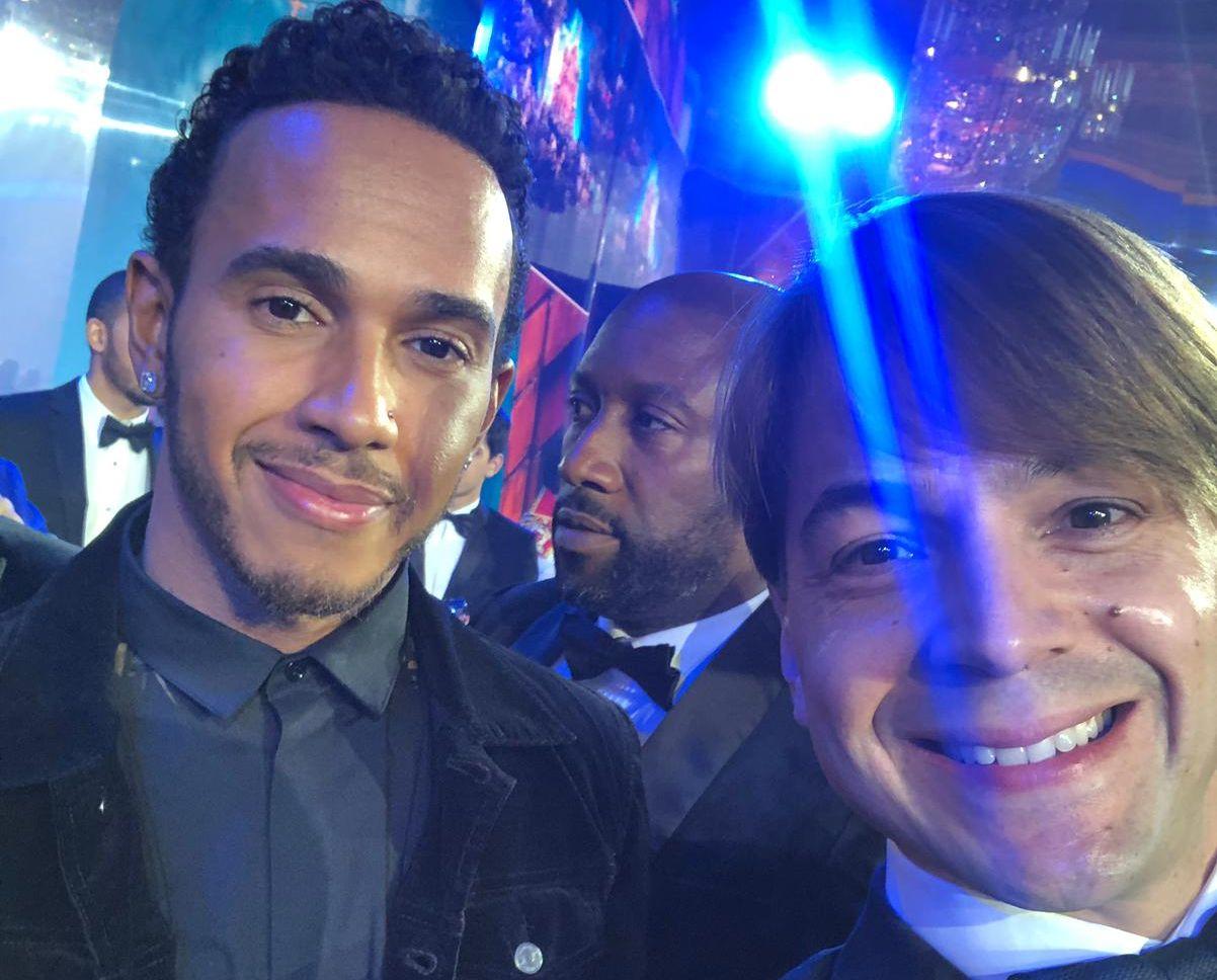 Curitibano Augusto Farfus e Lewis Hamilton juntos